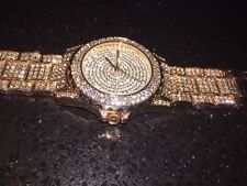Luxury Unisex Iced Out Bling Watch In Rose Gold