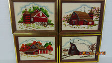 "Vintage Lot of 4 Pictures hanging on the wall hand-embroidered the canvas 6""x8"""