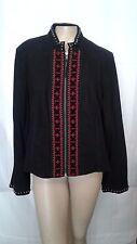 Double D Ranch Women's XL Black Leather Jacket Southwest Design C1410