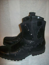 Sketchers HEEL snoot nose square cowboy ankle zipper biker motorcycle 44 11 step
