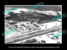 OLD LARGE HISTORIC PHOTO OF OCEAN CITY MARYLAND, JOLLY ROGER AMUSEMENT PARK 1964
