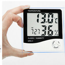 Desk Portable LCD Temperature Hygrometer Date Table Digital Humidity Alarm Clock