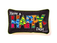 ROMERO BRITTO DECORATIVE PILLOW -  HAPPY ** NEW **