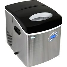 Large 50 Lb Stainless Steel Portable Ice Maker, Compact Countertop Cube IceMaker