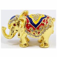 BEJEWELED RHINESTONE CRYSTAL ENAMEL TRINKET BOX - TINY ELEPHANT