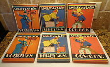 1929 Children Book & BOX Lot 3 JINGLEMAN JACK POLICEMAN FIREMAN COWBOY Saalfield