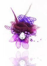 Hot 1pcs Feathers Gauze Headdress Corsage Flowers Dancing/Party  purple  color