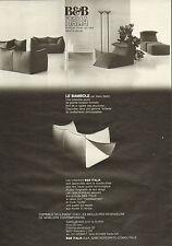 Publicité 1981  B & B  ITALIA  meuble design de qualité
