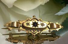 9CT oro luto Broche-Victoriano-Birmingham-Ruby & 2 diamantes pequeños