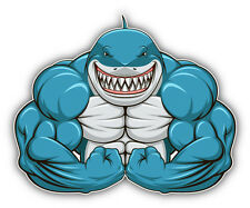 Muscular Shark Gym Car Bumper Sticker Decal 5'' x 4''