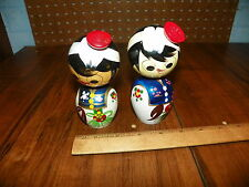 Vintage Pair of JAPANESE KOKESHI Dolls Wooden Hand Painted Nodders / Bobbleheads