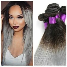 3 Bundles 100% Virgin Brazilian Ombre Hair Straight weaving Extensions 1B/Grey