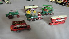 LOT DE 7 VEHICULE ANCIEN MATCHBOX BY LESNEY LOCOMOTIVE TRAMWAY TRACTEUR BUS
