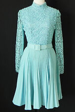 Vtg 60's Rockabilly Dress Lace Pleated Long Sleeve Light Blue Belted Size XS/S