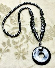 Hematite Circle Pendant Necklace