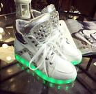 Fashion Womens Lace-up Athletic High Top Sneakers Night Light LED Trainer Shoes