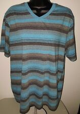 Op Men's Blue/Gray/Black Striped Short Sleeve V-Neck T-Shit Size XL