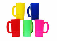 10  Small 14 Oz Kid's Plastic Mugs 2 ea Yellow Pink Red Lime Blue  Made in USA