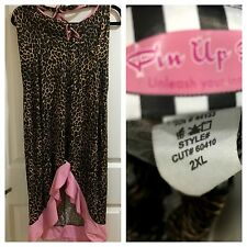Pinup Girl Clothing brand leopard/pink ruffle halter dress 2X