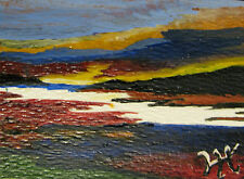 "ORIGINAL ACRYLIC ART ACEO PAINTING BY LJH A184 ""SNAKE RIVER @ SUNRISE"""