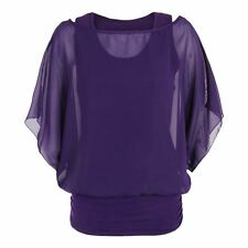Ladies New Batwing Chiffon Short Sleeve Loose Casual Blouse Dress Plus Size Tops