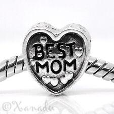 Best Mom Heart European Bead For European Charm Bracelets - Gift For Mom, Mother