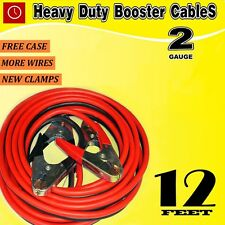 12 FT 2 Gauge battery Booster Cable Jumping Cables Power Jumper Heavy duty