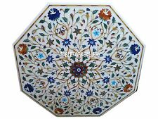 """36"""" White Marble Dining Table Top Lapis Inlay Marquetry Patio Mosaic Deco H3022A"""