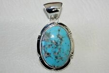 Signed Navajo Sterling Silver Thunderbird Turquoise Pendant