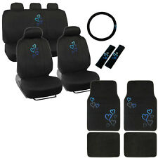 New Blue Heart Car Front Back Full Seat Covers Floor Mats & Steering Wheel Cover