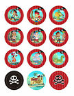 JAKE & NEVERLAND PIRATES CUPCAKE TOPPERS 12 EDIBLE ICING PARTY DECORATION 2 INCH