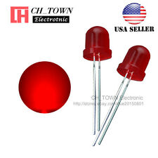 50pcs LED 10mm Red Color Red Light Diffused Round Top Light Emitting Diodes USA