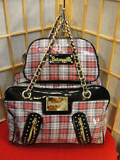 Betsey Johnson Sequin Lg Handbag & Cosmetic Case Chain Handles Purse DEFECT
