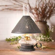 Country new small blacken TIN table lamp w/punched WILLOW tin shade /NICE
