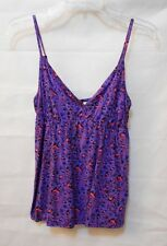 Cotton On Animal Print Singlet Top - Purple/Black/Pink - Gathered Bust - Size L