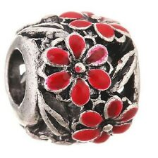 SILVER FINISH RED DAISY FLOWER ENAMEL CHARM BEAD FOR BRACELET OR NECKLACE