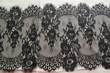 """3.3 yards Lace Trim Black Eyelash Chantilly Rose Floral Embroidery 12.9"""" width"""