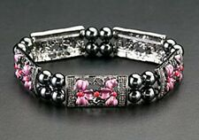 Magnetic Bracelet Hematite Bead Pink Flower Silver Stretch Therapy Free Shipping