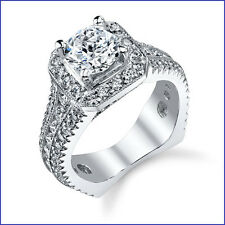 1.95ct Diamond PLATINUM Euro Shank Flat Bottom with HALO Semi Mount Engagem Ring