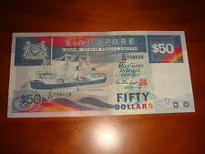 Singapore $50 Ship Series HTT, Nice & Decent Circulated, fine fold at center
