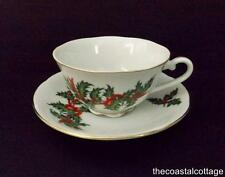 Tea Cup & Saucer White Porcelain Holly Swag Red Ribbons and Berries Gold Trim