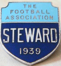 THE FOOTBALL ASSOCIATION 1939 STEWARD Badge Maker FATTORINI & SONS 23mm x 27mm