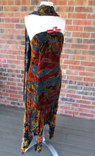 VINTAGE ALBERTO MAKALI BEADED LOW HIGH STRAPLESS SCALF MULTI COLOR DRESS SZ 6