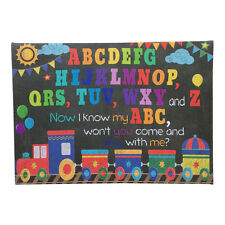Boys Train Alphabet Wall Canvas – Art Childrens Picture Playroom Nursery Bedroom