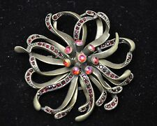 Vintage flower Style Brooches antique bronze/Red high-quality Bouquet gift-9