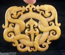 CHINESE OLD HANDWORK OLD YELLOW JADE CARVED DRAGON PENDANT!!!