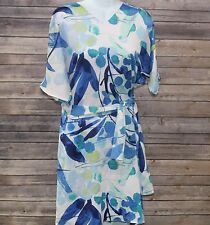 N Natori Satin Dress with Belt Blue Floral S NEW 407173