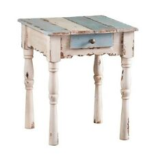 Vintage Rustic Distressed Accent End Side Table Drawer Wood Antique White Blue