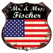 BPLU0419 America Flag MR. & MRS FISCHER Family Name Sign Decor Wedding Gift