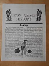 IRON GAME HISTORY bodybuilding muscle magazine booklet/PASSINGS 7-92